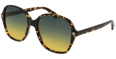 Gafas de Sol - Gucci - GG0092S - 003 BLONDE HAVANA // GREY GRADIENT YELLOW