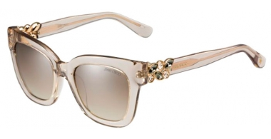 Sunglasses - Jimmy Choo - MAGGIE/S - W7H (NQ) TRANSPARENT DOVE GREY // BROWN MIRROR SILVER