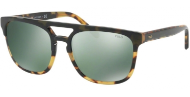 Sunglasses - POLO Ralph Lauren - PH4125 - 56366R OLIVE ON SPOTTY // GREEN FLASH MIRROR