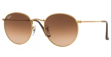 Sunglasses - Ray-Ban® - Ray-Ban® RB3447 ROUND METAL - 9001A5 SHINY LIGHT BRONZE // PINK GRADIENT BROWN