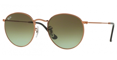 Sunglasses - Ray-Ban® - Ray-Ban® RB3447 ROUND METAL - 9002A6 SHINY MEDIUM BRONZE // GREEN GRADIENT BROWN