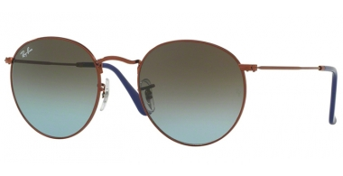 Sunglasses - Ray-Ban® - Ray-Ban® RB3447 ROUND METAL - 900396 SHINY DARK BRONZE // BLUE GRADIENT BROWN