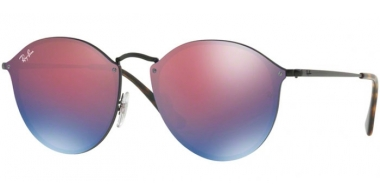 Sunglasses - Ray-Ban® - Ray-Ban® RB3574N BLAZE ROUND - 153/7V DEMI GLOSS BLACK // DARK VIOLET MIRROR BLUE