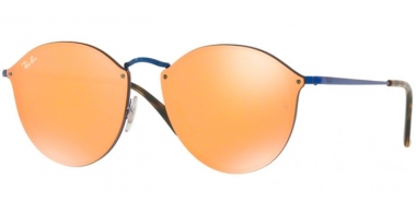 Sunglasses - Ray-Ban® - Ray-Ban® RB3574N BLAZE ROUND - 90387J BLUE // DARK ORANGE MIRROR GOLD