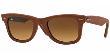 Sunglasses - Ray-Ban® - Ray-Ban® RB2140QM WAYFARER EDITION LEATHER - 116985 USED LEATHER BROWN // GRADIENT BROWN