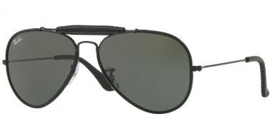 Gafas de Sol - Ray-Ban® - Ray-Ban® RB3422Q AVIATOR CRAFT - 9040 LEATHER BLACK // GREEN