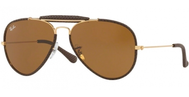 Gafas de Sol - Ray-Ban® - Ray-Ban® RB3422Q AVIATOR CRAFT - 9041 LEATHER BROWN // BROWN