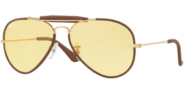 Gafas de Sol - Ray-Ban® - Ray-Ban® RB3422Q AVIATOR CRAFT - 90424A LEATHER LIGHT BROWN // YELLOW PHOTOCROMIC