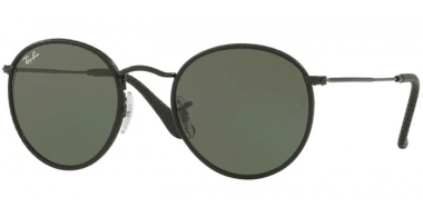 Sunglasses - Ray-Ban® - Ray-Ban® RB3475Q ROUND CRAFT - 9040 LEATHER BLACK // GREEN