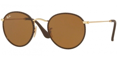 Sunglasses - Ray-Ban® - Ray-Ban® RB3475Q ROUND CRAFT - 9041 LEATHER BROWN // BROWN