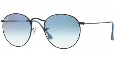 Sunglasses - Ray-Ban® - Ray-Ban® RB3447 ROUND METAL - 006/3F MATTE BLACK // CRYSTAL GRADIENT LIGHT BLUE