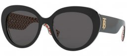 Sunglasses - Burberry - BE4298 ROSE - 382287 TOP BLACK ON PRINT TB RED // GREY