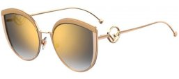 Sunglasses - Fendi - FF 0290/S - IJS (FQ) IVORY GOLD // GREY GRADIENT GOLD MIRROR
