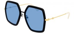 Sunglasses - Gucci - GG0106S - 011 BLACK GOLD // BLUE
