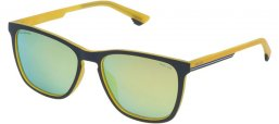 Gafas de Sol - Police - SPL573 TRACK 6 - 9DZG MATTE DARK GREY YELLOW // BLUE MIRROR GOLD ANTIREFLECTION POLARIZED