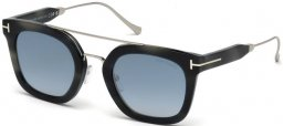 Sunglasses - Tom Ford - ALEX-02 FT0541 - 56X GREY HAVANA // BLUE MIRROR GRADIENT