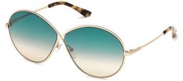 Sunglasses - Tom Ford - RANIA-02 FT0564 - 28P SHINY GOLD // GREEN GRADIENT