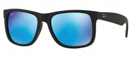 Sunglasses - Ray-Ban® - Ray-Ban® RB4165 JUSTIN - 622/55 BLACK RUBBER // GREEN MIRROR BLUE
