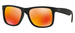 Sunglasses - Ray-Ban® - Ray-Ban® RB4165 JUSTIN - 622/6Q RUBBER BLACK // BROWN MIRROR ORANGE