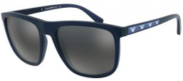 Sunglasses - Emporio Armani - EA4124 - 57236G MATTE OPAL BLUE // LIGHT GREY MIRROR BLACK