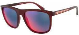 Sunglasses - Emporio Armani - EA4124 - 57246P MATTE OPAL RED // DARK GREY MIRROR BLUE RED