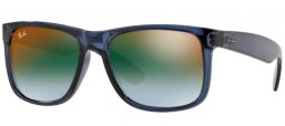 Sunglasses - Ray-Ban® - Ray-Ban® RB4165 JUSTIN - 6341T0 TRANSPARENT BLUE // BLUE GRADIENT GREEN MIRROR RED