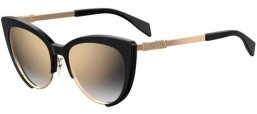 Sunglasses - Moschino - MOS040/S - 807 (FQ) BLACK // GREY GRADIENT GOLD MIRROR