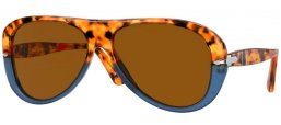 Sunglasses - Persol - PO3260S - 112033 BROWN TORTOISE & OPAL BLUE // BROWN