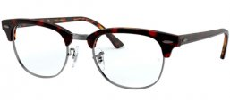 Frames - Ray-Ban® - RX5154 CLUBMASTER - 5911 TOP TRANSPARENT RED ON HAVANA ORANGE