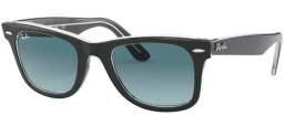 Lunettes de soleil - Ray-Ban® - Ray-Ban® RB2140 ORIGINAL WAYFARER - 12943M BLACK ON TRANSPARENT // BLUE GRADIENT