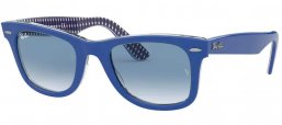 Sunglasses - Ray-Ban® - Ray-Ban® RB2140 ORIGINAL WAYFARER - 13193F BLUE ON VICHY BLUE WHITE // CLEAR GRADIENT BLUE