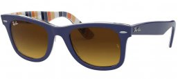 Sunglasses - Ray-Ban® - Ray-Ban® RB2140 ORIGINAL WAYFARER - 132085 BLUE ON STRIPED ORANGE BLUE // BROWN GRADIENT DARK BROWN