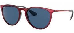 Sunglasses - Ray-Ban® - Ray-Ban® RB4171 ERIKA - 647280 TOP METALLIC RED ON BLACK // DARK BLUE