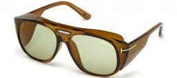 Sunglasses - Tom Ford - FENDER FT0799 - 48N  DARK BROWN // GREEN