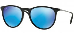 Sunglasses - Ray-Ban® - Ray-Ban® RB4171 ERIKA - 601/55 BLACK // LIGHT GREEN MIRROR BLUE