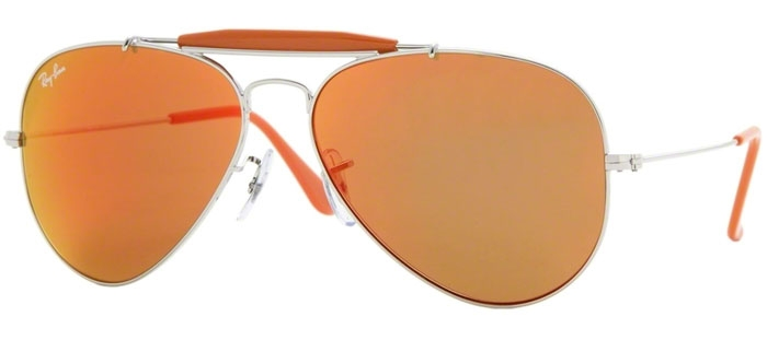 ray ban aviator sunglasses crystal orange mirror 3407
