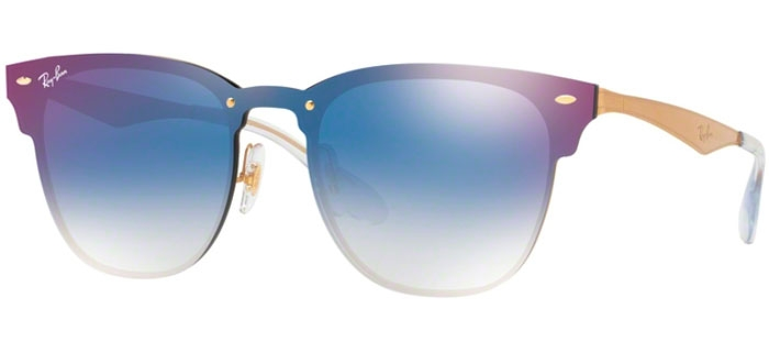 5be3febf316 Ray-Ban® RB3576N BLAZE CLUBMASTER - 043 X0 BRUSHED GOLD    CLEAR GRADIENT  BLUE MIRROR RED