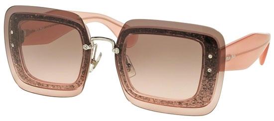 Brand New Miu Miu Sunglasses MU 01R 01RS UES0A7 Grey Glitter Women