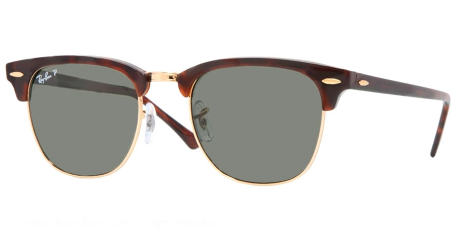0b2d451d58 Ray-Ban® RB3016 CLUBMASTER - 990/58. RED HAVANA // CRYSTAL GREEN POLARIZED